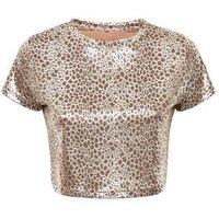 Cameo Rose Gold Metallic Leopard Print Crop Top New Look