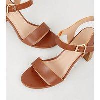 Wide Fit Tan Leather-Look 2 Part Block Heels New Look