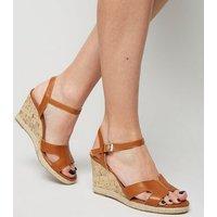 Wide Fit Tan Cork Effect Wedge Sandals New Look Vegan
