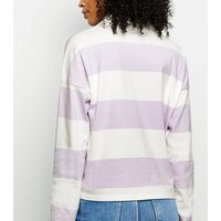 Lilac Stripe Rugby Shirt New Look