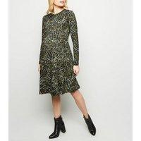 Maternity Khaki Leopard Print Soft Touch Dress New Look