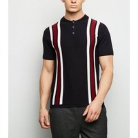 Red Bowling Stripe Button Neck Polo Shirt New Look