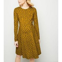 Maternity Orange Floral Soft Touch Skater Dress New Look