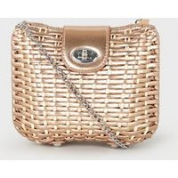 Rose Gold Woven Straw Effect Cross Body Box Bag New Look