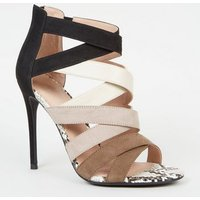 Black Colour Block Faux Snake Strappy Heels New Look