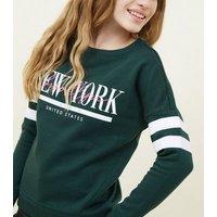 Girls Dark Green New York Stripe Sleeve Sweatshirt New Look