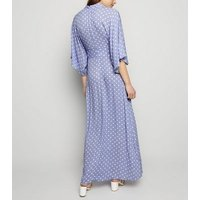 Blue Vanilla Pale Blue Spot Maxi Dress New Look