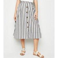 Blue Vanilla Blue Stripe Button Up Midi Skirt New Look
