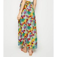 Blue Vanilla Yellow Tropical Wrap Maxi Skirt New Look