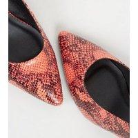 Orange Faux Snake Slingback Block Heels New Look