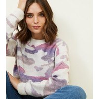 Cameo Rose White Pastel Camo Print Jumper New Look