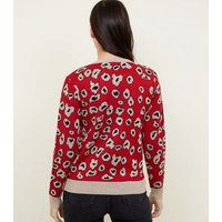 Cameo Rose Red Glitter Leopard Print Jumper New Look
