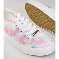 Girls Multicoloured Tie Dye Lace Up Trainers New Look