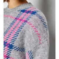 Maternity Grey Neon Check Jumper New Look