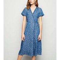 Blue Denim Ditsy Floral Midi Wrap Dress New Look