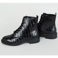 Wide Fit Black Faux Croc Lace Up Boots New Look