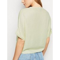 Light Green Gingham Tie Front Shirt New Look