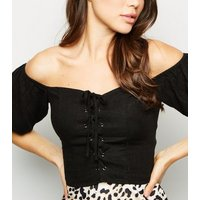 Black Linen Look Lace Up Milkmaid Top New Look