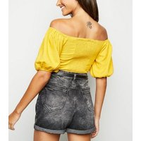 Yellow Linen-Look Lace Up Milkmaid Top New Look