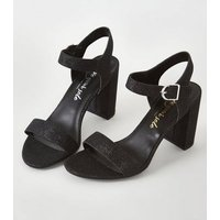 Black Glitter 2 Part Block Heels New Look Vegan