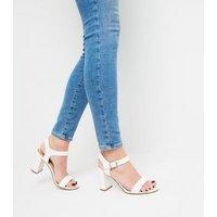 White Leather-Look 2 Part Block Heels New Look Vegan