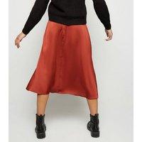 Rust Satin Midi Skirt New Look