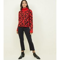 cameo-rose-red-leopard-print-roll-neck-jumper-new-look