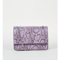 Lilac Faux Snake Chain Shoulder Bag New Look