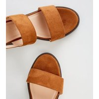 Girls Tan Suedette Low Block Heel Sandals New Look