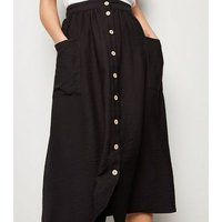 Black Button Pocket Front Midi Skirt New Look