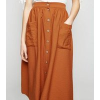 Rust Button Pocket Front Midi Skirt New Look