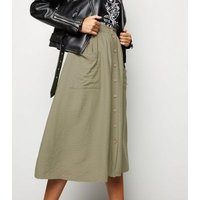 Olive Button Pocket Front Midi Skirt New Look