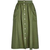 Khaki Button Pocket Front Midi Skirt New Look