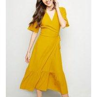 Mustard Tiered Midi Wrap Dress New Look