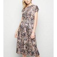 Brown Snake Print Pleated Midi Dress New Look