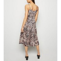 Brown Snake Print Strappy Pleated Midi Dress New Look