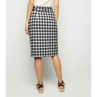 Black Gingham Linen Blend Midi Skirt New Look