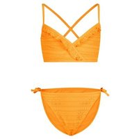 Girls Orange Crochet Cross Back Bikini Set New Look