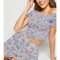 Purple Ditsy Floral Shirred Bardot Top New Look