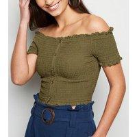 Khaki Shirred Button Front Bardot Top New Look