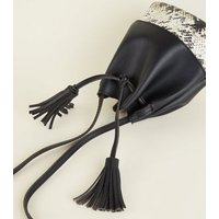 Black Faux Snake Panel Tassel Duffle Bag New Look