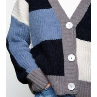 blue patchwork knit long sleeve cardigan new look