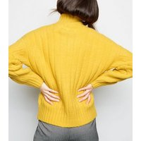 yellow-funnel-neck-cable-knit-jumper-new-look