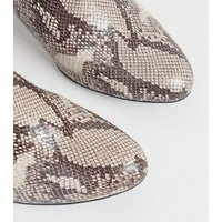Stone Comfort Flex Faux Snake Shoe Boots New Look