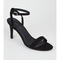 Black Suedette Ankle Strap Stiletto Heels New Look Vegan