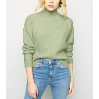 Mint Green Waffle Knit Funnel Neck Jumper New Look