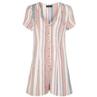 White Stripe Linen Blend Button Up Playsuit New Look