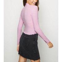 Lilac Ribbed Frill Hem Top New Look