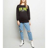 Petite Black New York Neon Slogan Sweatshirt New Look