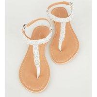 Silver Gem Strap Flat Sandals New Look